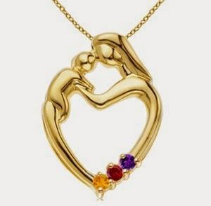 Mother and Child Heart Pendant With Lab Created Citrine, Lab Created Garnet, Lab Created Amethyst in 14k Yellow Gold