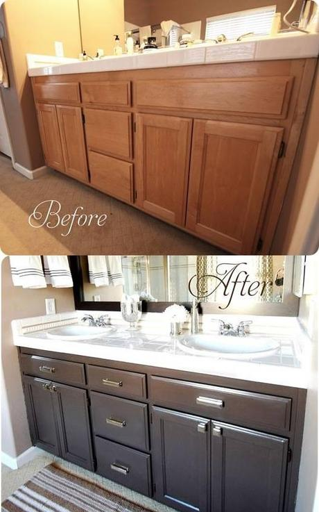 Before and after bathroom cabinet via censational girl great job