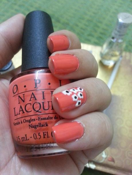 NOTD - Spring/Summer Nails , Orange with White Blossoms