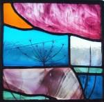 sunset cowparsley stained glass panel