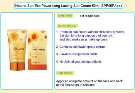 The Face Shop Power Long-Lasting Sun Cream info