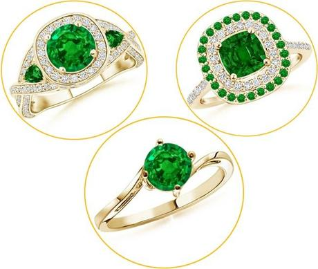 Yellow gold Emerald Rings