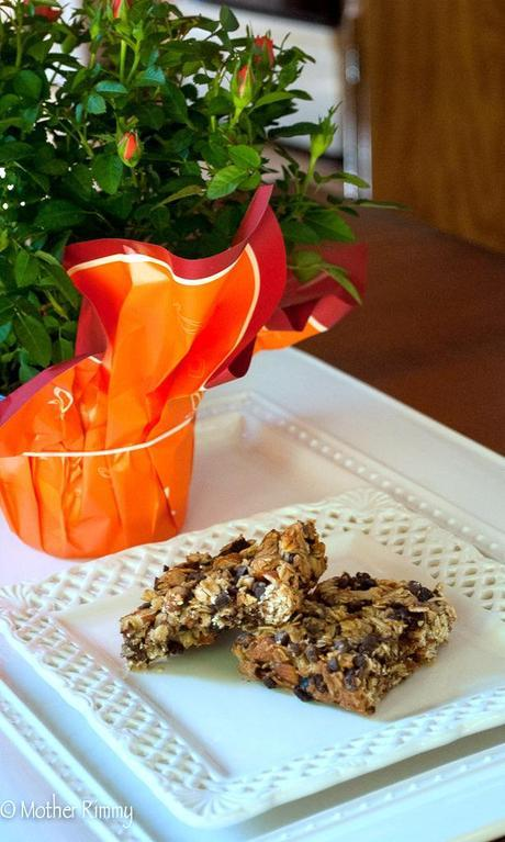 Homemade Granola Bars with Almonds, Dried Fruit and Chocolate Chips