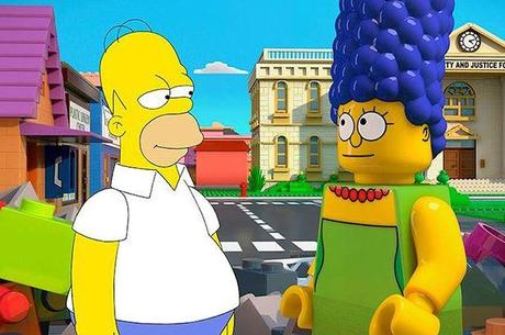 Cartoon Homer meets LEGO Marge in The Simpsons LEGO episode