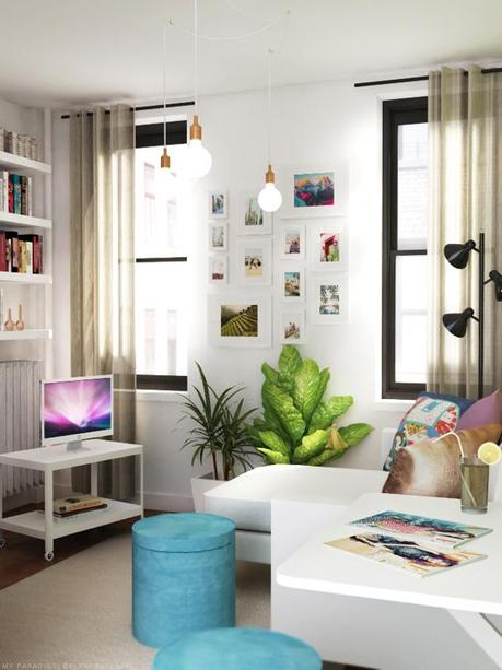 Tiny studio apartment decoration paperblog for Efficacy apartments