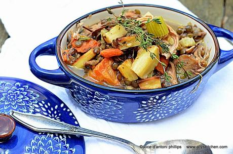 ~french-inspired chicken soup with roasted root vegetables & green lentils~