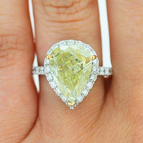 Fancy Yellow Pear Shaped Halo