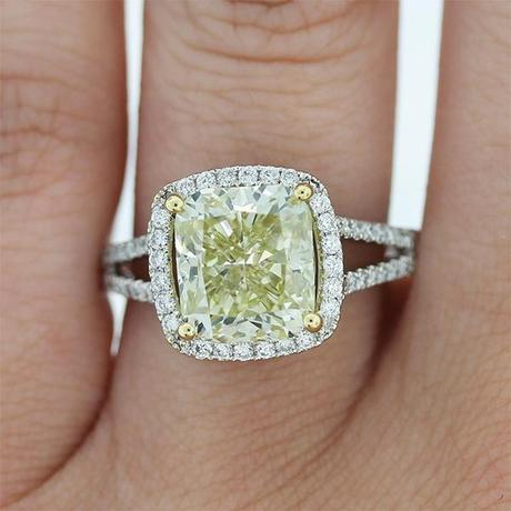 Cushion Cut Fancy yellow Halo