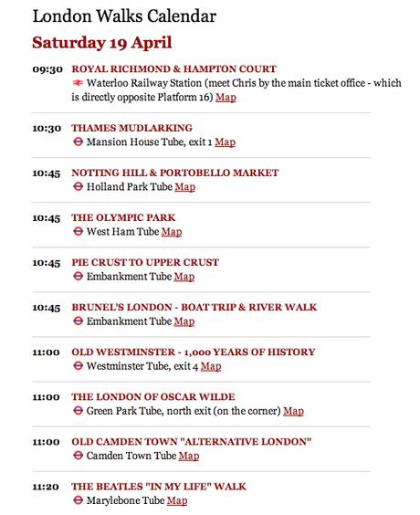 Plan the Bank Holiday Weekend: Saturday's London Walks