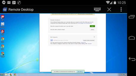Computer access via Chrome Remote Desktop app on smartphone