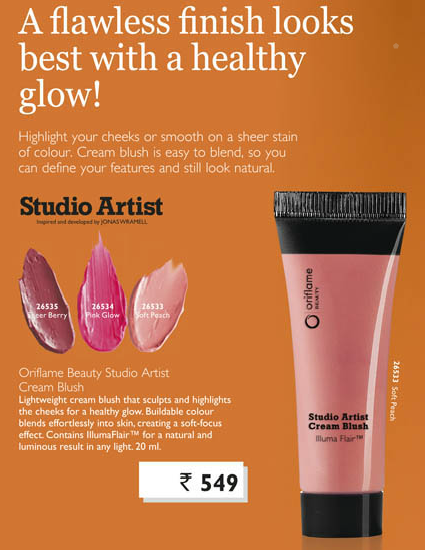 Oriflame Beauty Studio Artist Cream Blush in Pink Glow and Soft Peach - Review, Swatches, FOTD