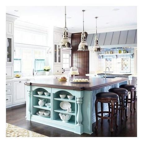 Colorful Kitchen Islands.  LOVE this! and those pendant lights??  NEED!
