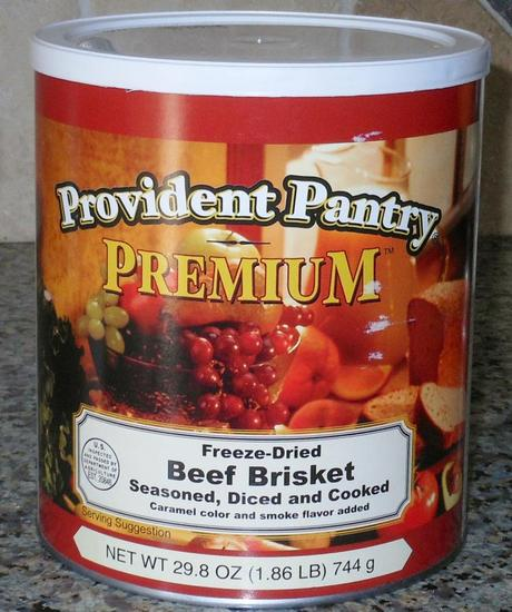 I started with a #10 can of Emergency Essentials Freeze Dried Beef Brisket.