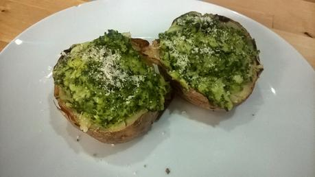 Twice baked potatoes: kale & hazelnut pesto