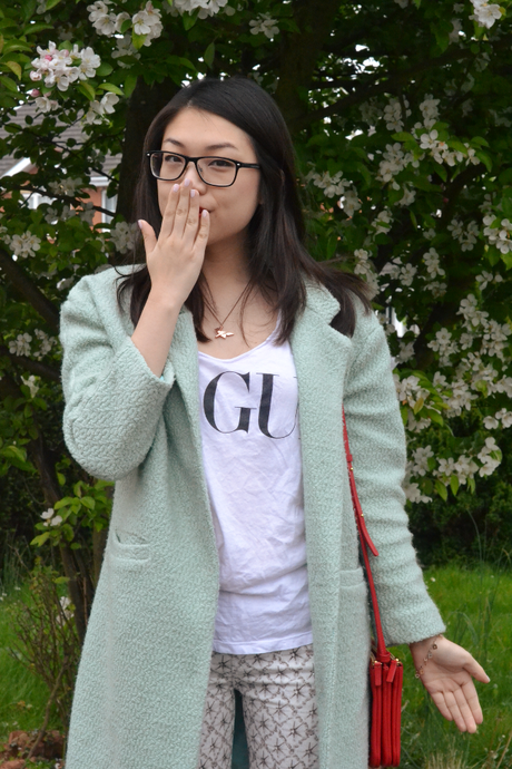Daisybutter - UK Style and Fashion Blog: mint green coat, patterned jeans, slogan t-shirt