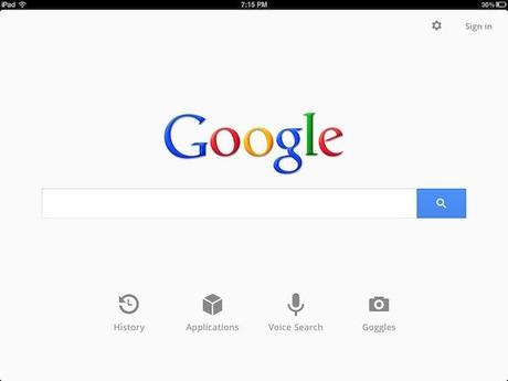 Use the Google Search app on your iPad