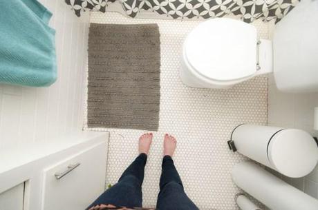 white hexagonal tiles