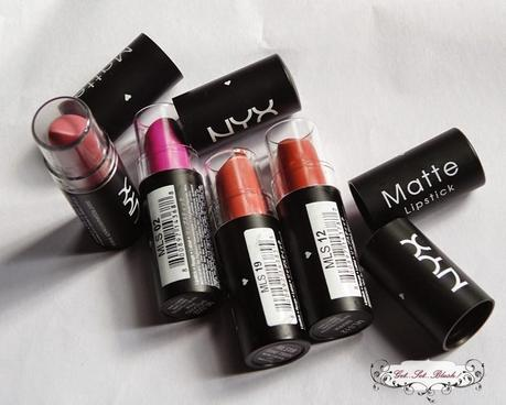 NYX Matte Lipsticks in Natural,Shocking Pink,Euro Trash and Sierra Review,Swatches,LOTD