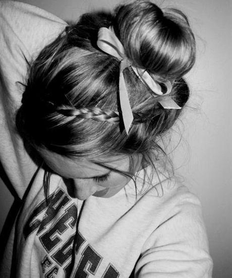 Messy Bun hairstyle with bands