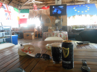 Having a Guinness in Caz Bar on the way back.