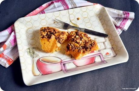 Eggless carrot cake | Carrot cake with nuts topping