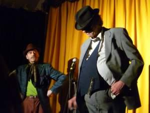 Tony Green (left) as The Pompous Man & Martin Soan as Hercule Poirot (part of the show Lewis Schaffer did not see)