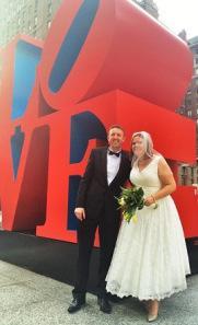 Rachel Dean Central Park Wedding LOVE sculpture