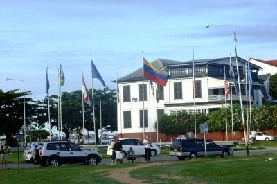 Flags of the world at Independence Square, Paramaribo, Suriname.