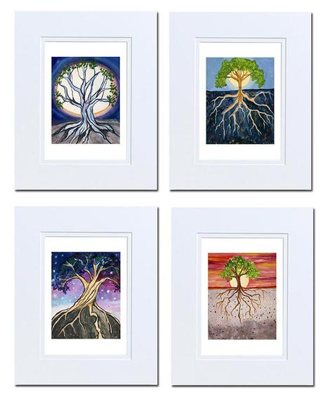 Tree of Life studies by Cedar Lee, matted acrylic on paper