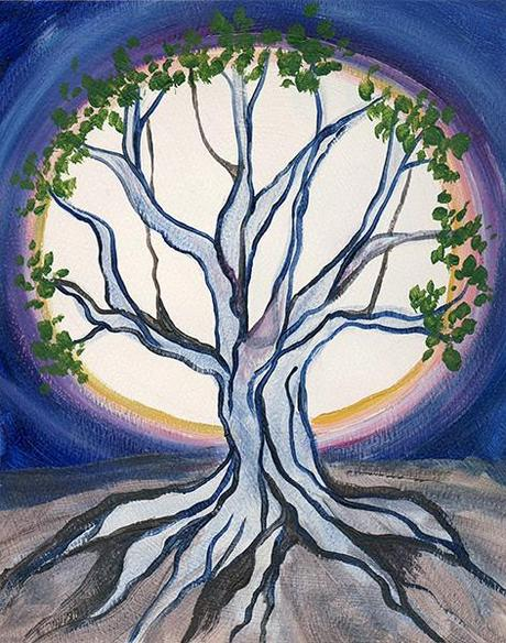 "Study of Moon Tree. 10"" x 8"" (14"" x 11"" matted), Acrylic on Paper, © 2014 Cedar Lee"