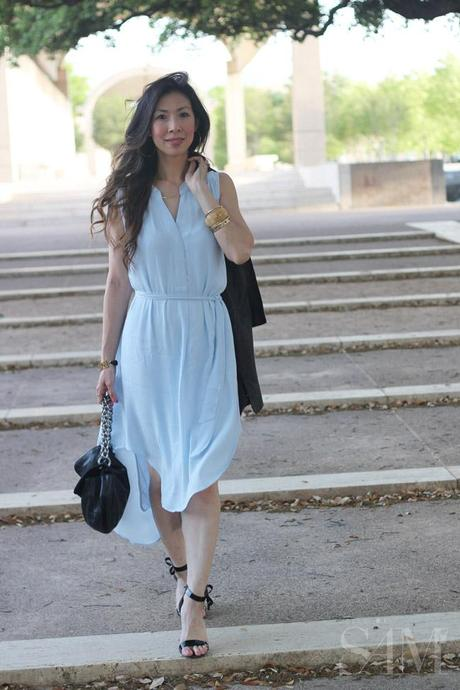 style of sam, cabi breeze dress, date night outfit, how to wear a hi low dress