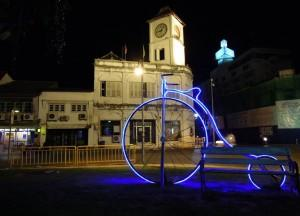 Phuket Clock Tower at Night, Phuket Old Town and Soi Romannee, Travel in Thailand