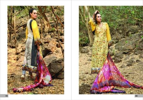 Embroided designer lawn collection of Nadia Hussain