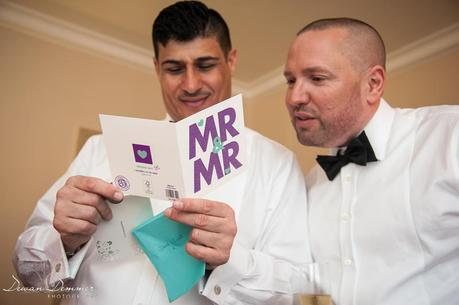 Wedding Couple read a concratulations card
