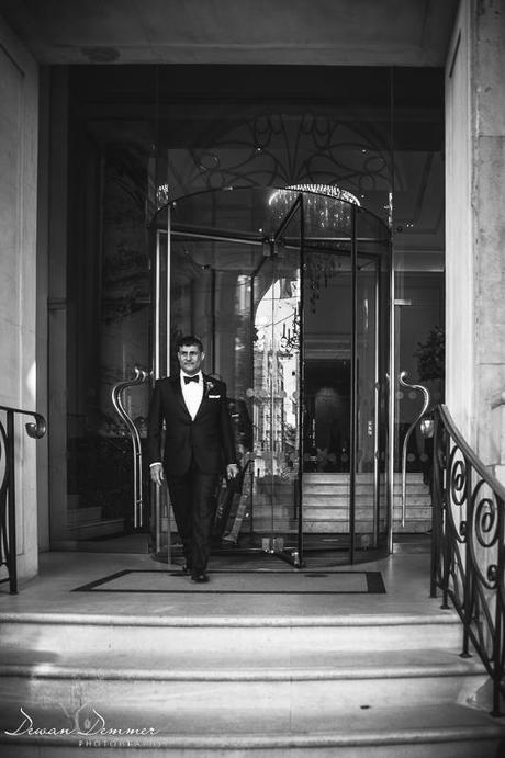 Groom Leaves Langham Hotel for London wedding photography
