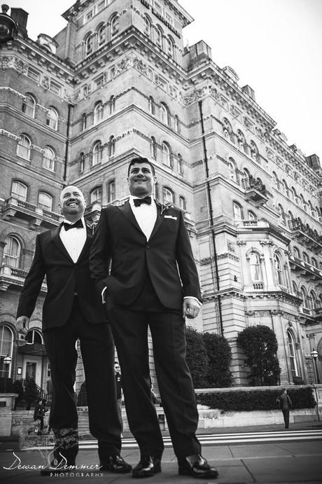 Front of Langham Hotel wedding photography
