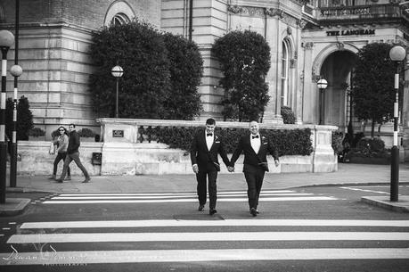 Wedding Couple crossing road at Langham Hotel