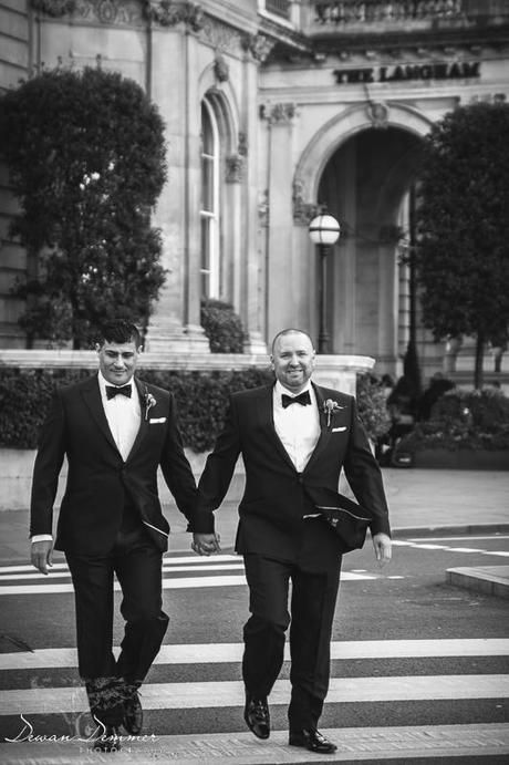 Same Sex wedding couple cross road