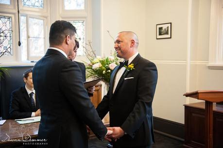 Photography of wedding ceremony mayfair library during vows