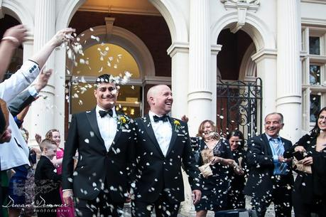 Confetti as same sex couple leave Mayfair Library
