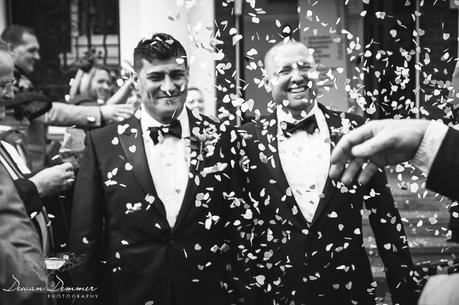 Photography of Confetti as gay couple leave mayfair library married