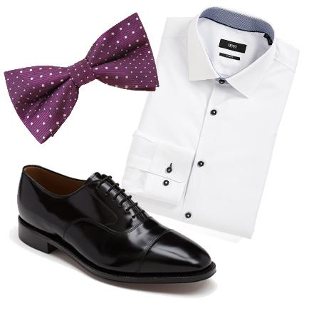 Our suggestions: a nice dress shirt can be matched with a colorful bow tie with a pattern.