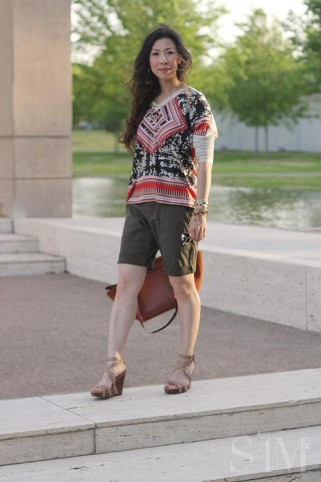 style of sam, cabi scarf top, ivy league shorts, celine trapeze bag