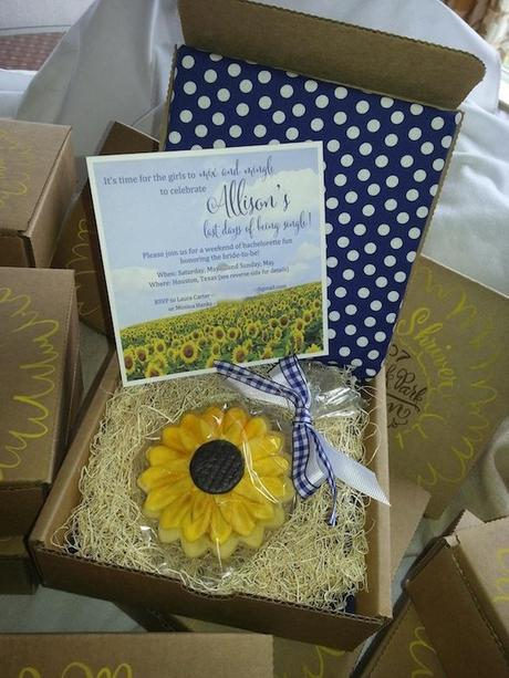 Post image for Boxed Sunflower themed Bachelorette Party Invite