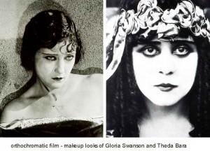 orthochromatic-film---makeup-looks-of-Gloria-Swanson-and-Theda-Bara