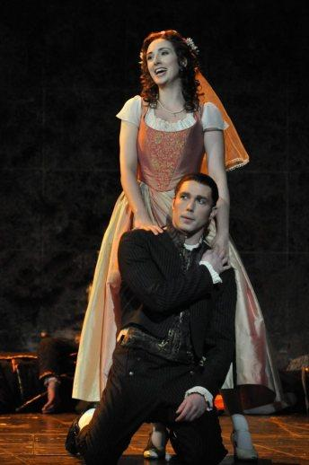Wes Mason as Masetto and Cecilia Hall as Zerlina in DON GIOVANNI at the  Academy of Music |photo by Kelly and Massa