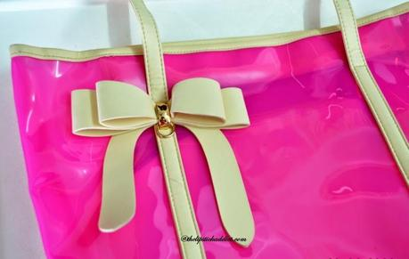 My Style : Transparent Tote with a Bow in Radiant Orchid