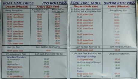 Boat Timetable and Times, Travel to Koh Yao Yai from Phuket Airport