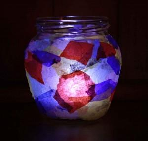 Tissue Decorated Tealight Jar