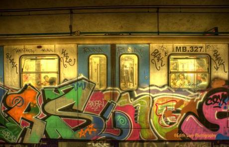 Rome Subway, graffiti, subway car, Italy, Rome,